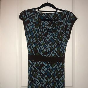 Apt 9 brown and blue geometric dress